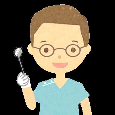 眼鏡をかけた男性歯医者さんのイラスト