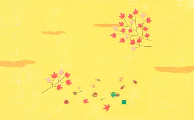 紅葉,ドングリなど秋の背景イラスト