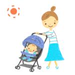 ベビーカーの赤ちゃんとママのイラスト-無料素材