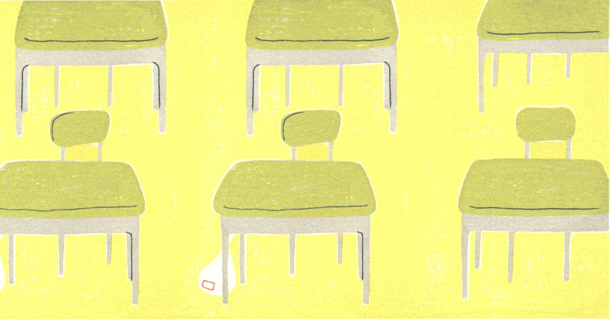 学校の教室と机のイラスト