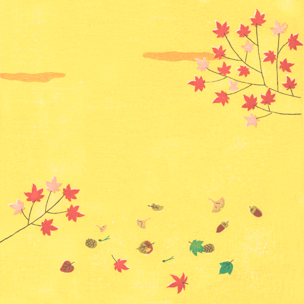 秋の背景、もみじ、ドングリイラスト正方形