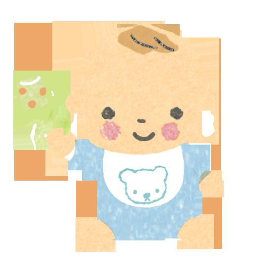 正面向きのガラガラを持った赤ちゃんのイラスト
