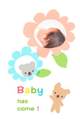 フリー素材ずーあんの無料素材を使用した赤ちゃんカードの画像
