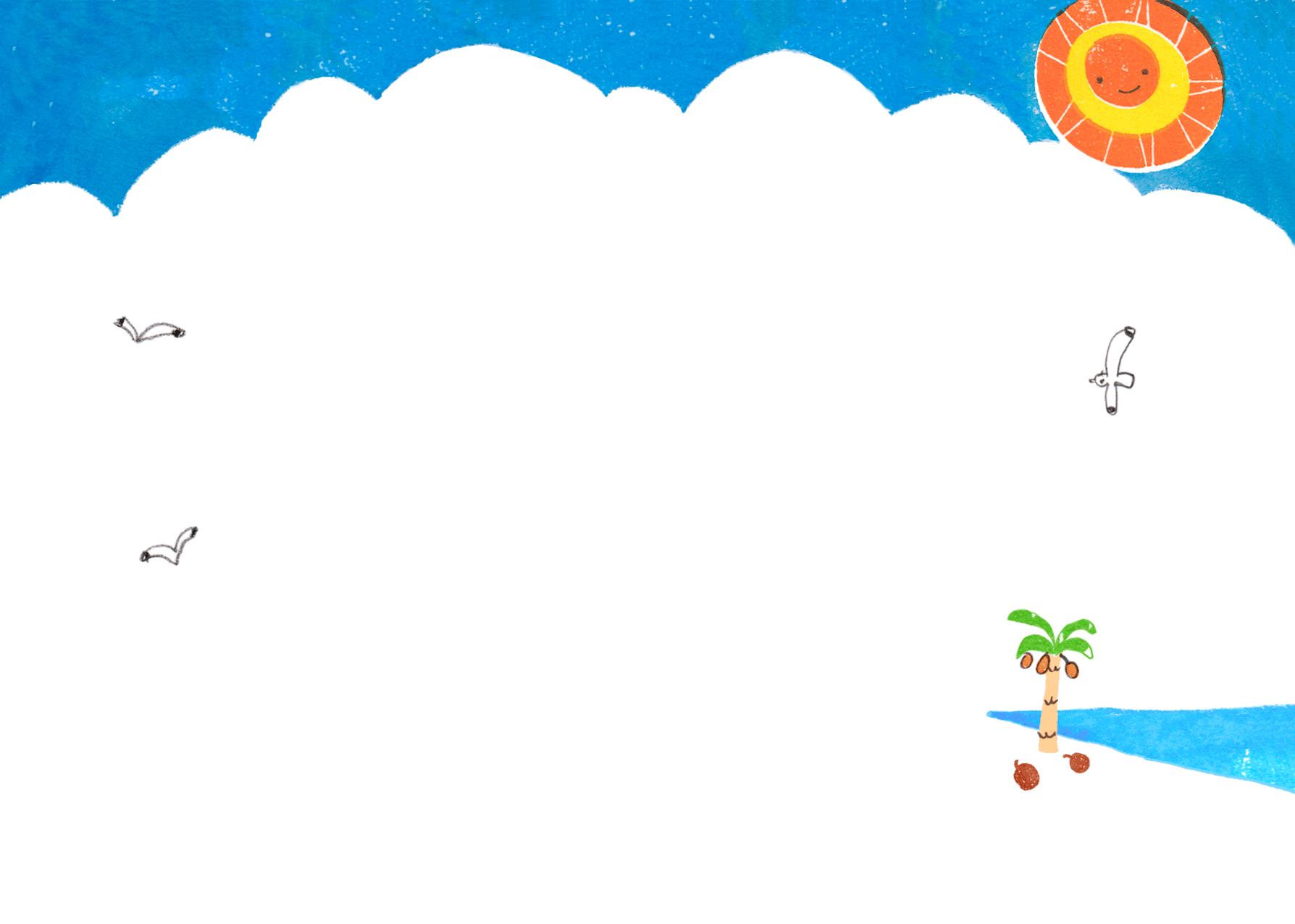 夏、ビーチの背景イラスト