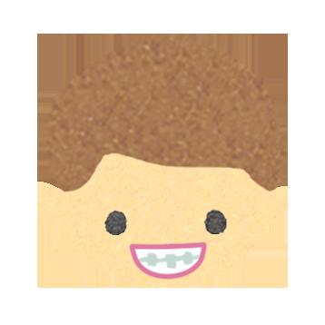 歯科矯正をしている男の子のイラスト画像
