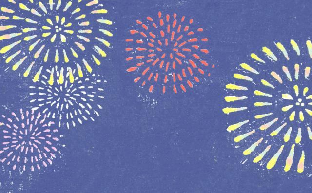 夏、打ち上げ花火の背景イラスト