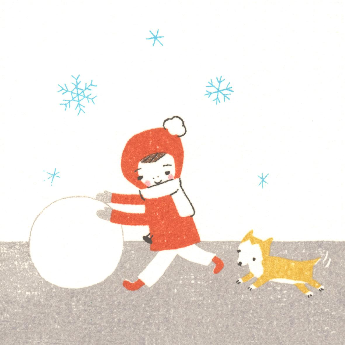 冬、雪だるまを作る女の子と犬の背景イラスト正方形