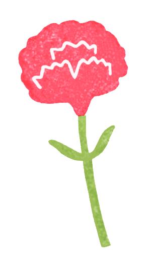 赤いカーネーションのイラスト画像
