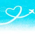 ハート型飛行機雲の背景イラスト-無料素材