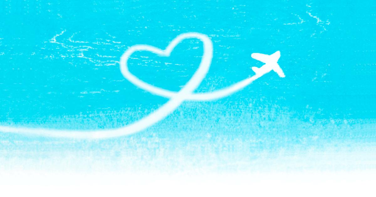 ハート型飛行機雲イラスト