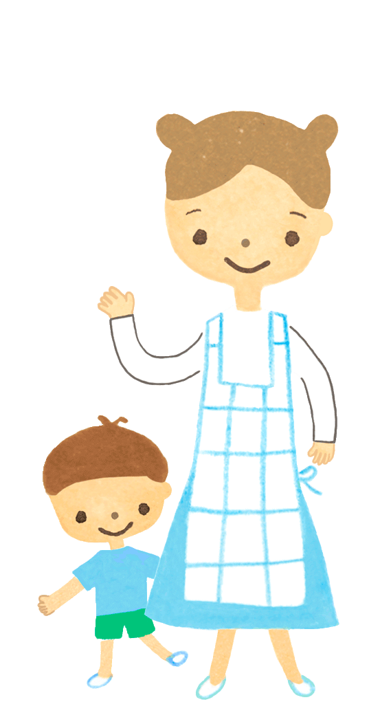 3歳位の男の子とママのイラスト