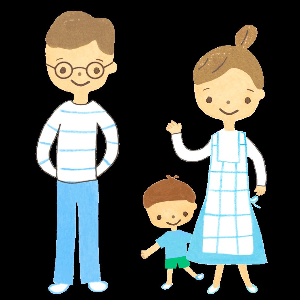 3歳位の男の子とパパとママのイラスト画像