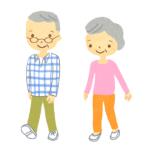 老夫婦が歩いているイラスト