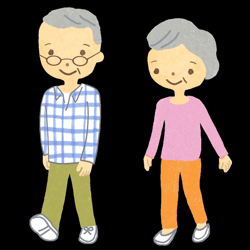 老夫婦が並んで歩いているイラスト