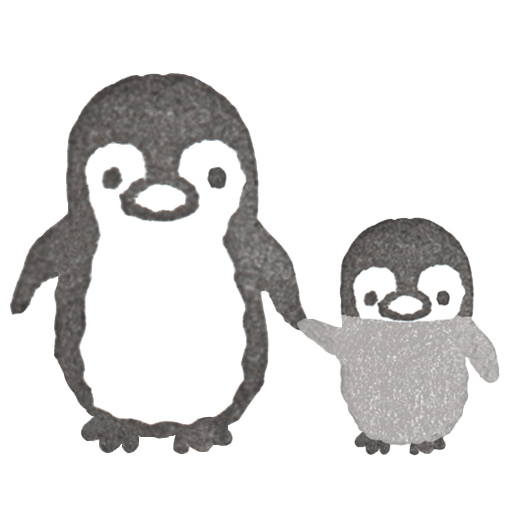 ペンギンの親子のイラスト