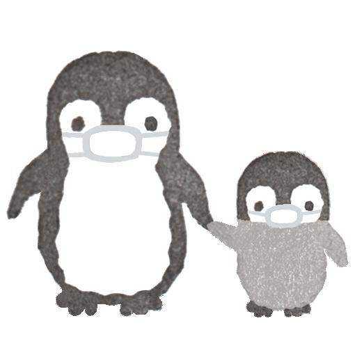 マスクをしたペンギンの親子のイラスト