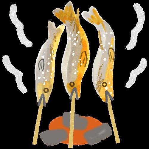 アユの塩焼きイラスト