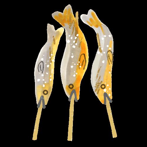 鮎の塩焼きのイラスト