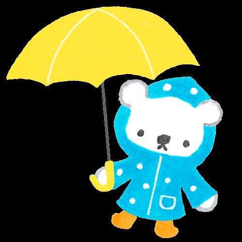 白くまの子どもが合羽を着て雨の日にお出かけするイラスト