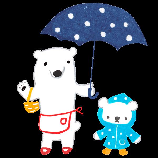 白くまママと子どもが雨の日にお出かけするイラスト