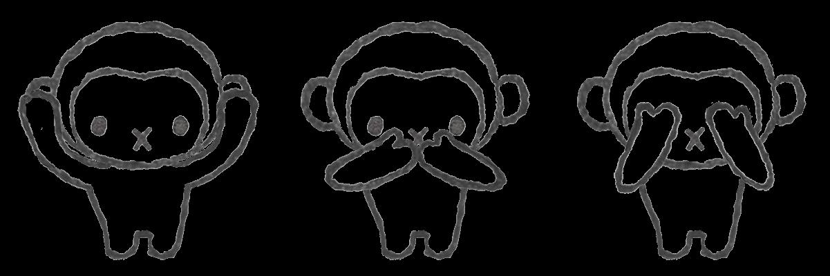 三猿のモノクロ線画イラスト