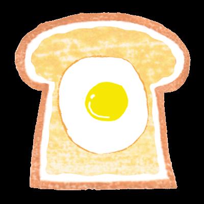 商用利用もOKな無料イラストサイト【フリー素材ずーあん】(制作者/入江めぐみ)の目玉焼きトーストイラスト