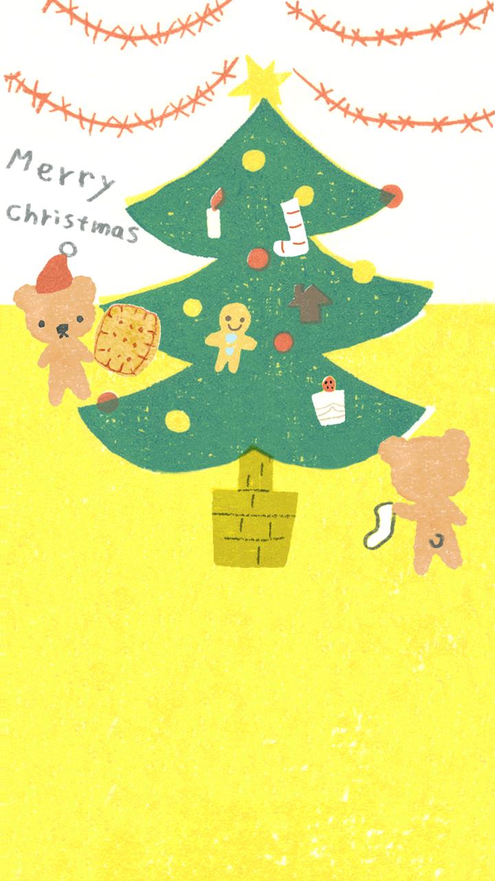 商用利用もOKな無料イラストサイト【フリー素材ずーあん】のライン背景画像用クリスマスイラスト