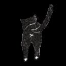 黒猫の後ろ姿のイラスト画像
