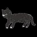 斜め向きで歩いている黒猫のイラスト画像