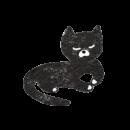 伏せをした黒猫のイラスト画像