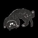 寝転がっている黒猫のイラスト画像