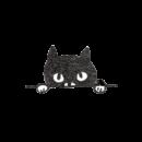 のぞいている黒猫のイラスト画像