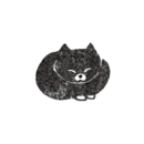 丸くなって眠っている黒猫のイラスト画像