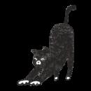 伸びをしている黒猫のイラスト画像