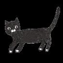 歩いている黒猫が振り向くイラスト画像