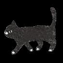 横向きの黒猫が歩いているイラスト画像