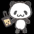 タピオカミルクティーを持ったパンダのイラスト