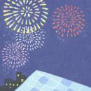 花火,屋根,夏の背景イラスト