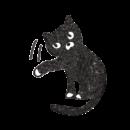 猫パンチをしている黒猫のイラスト画像