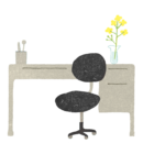 診察室(机と椅子)のイラスト画像