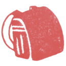 ランドセル(赤色)の無料イラスト画像