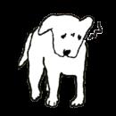 白い犬が怒っているイラスト画像