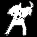 白い犬が伏せをしているイラスト画像