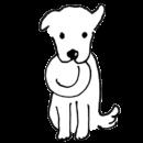 白い犬がお皿をくわえるイラスト画像
