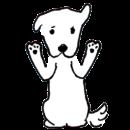 白い犬が両手を挙げているイラスト画像