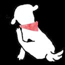 白い犬が耳の後ろを掻いているイラスト画像