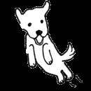 白い犬がジャンプをするイラスト画像