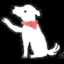 白い犬がお手をするイラスト画像