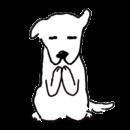 白い犬が手を合わせて拝んでいるイラスト画像