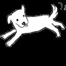 白い犬が元気よく走っているイラスト画像